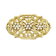 14K Gold-Dipped  Edwardian Filigree Costume Pearl And Crystal Oval Bar Pin
