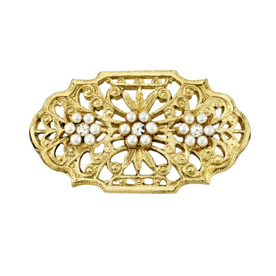 14K Gold Dipped  Edwardian Filigree Costume Pearl And Crystal Oval Bar Pin