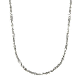 Silver-Tone Large Bead Stations Chain Necklace 36 In