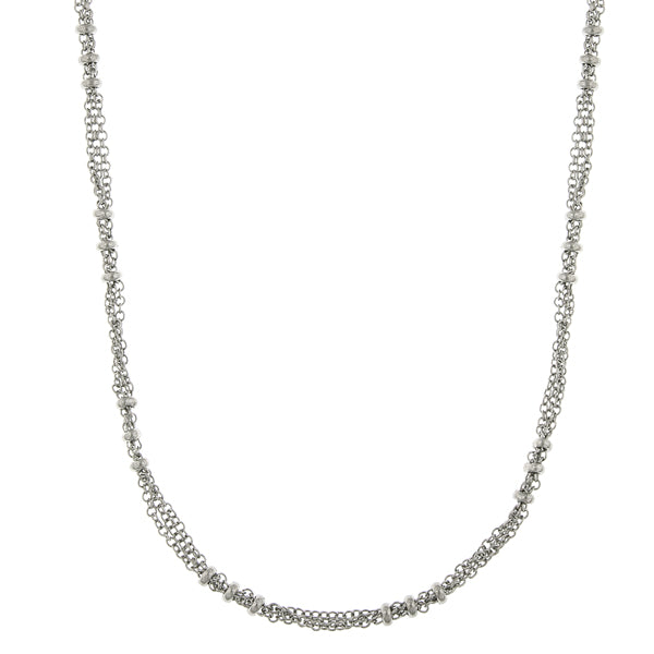 Silver Tone Large Bead Stations Chain Necklace 36 In