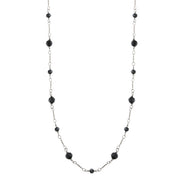 Silver-Tone Black Faceted Long Link Necklace 36