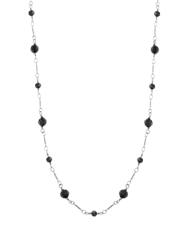 Silver Tone Black Long Beaded Link Chain Necklace 36 Inches