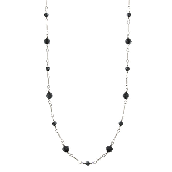 Silver Tone Black Faceted Long Link Necklace 36