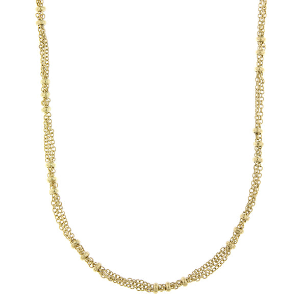 14K Gold-Dipped  Large Bead Stations Chain Necklace 36 In