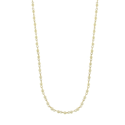 Gold Tone 4Mm Costume Pearl Stations Chain Necklace 36 In