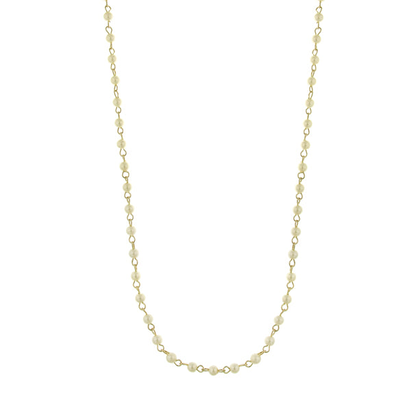 Gold-Tone 4Mm Costume Pearl Stations Chain Necklace 36 In