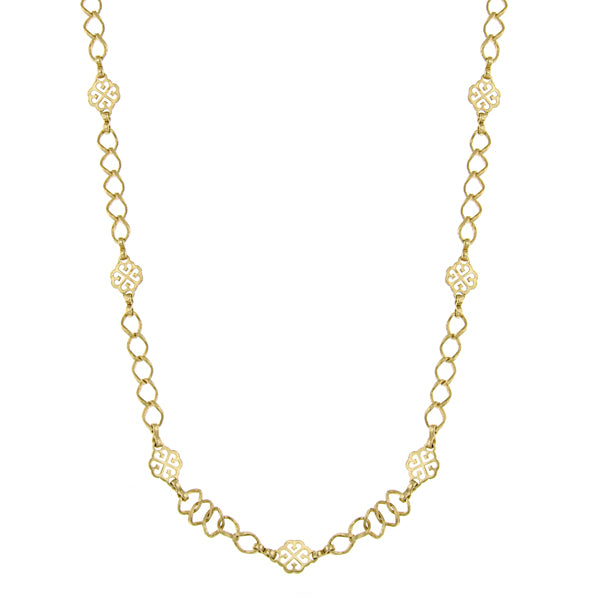 Gold Tone Filigree Clover Links With Long Gold Chain Necklace 36 In
