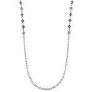 Silver Tone Filigree Balls Blue Beads Chain Necklace 36 In