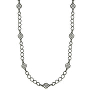 Black-Tone Filigree Clover Links Chain Necklace 36 In