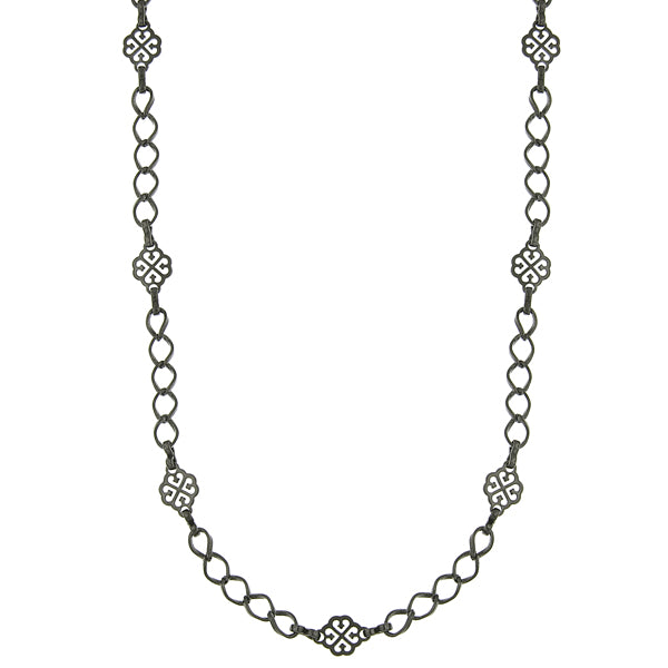 Black Tone Filigree Clover Links Chain Necklace 36 In