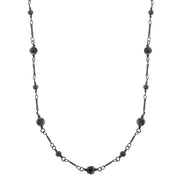 Black Tone Hematite Color Long Link Faceted Necklace 36 In