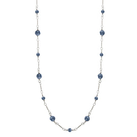 Silver-Tone Blue Beads Chain Necklace 36 In