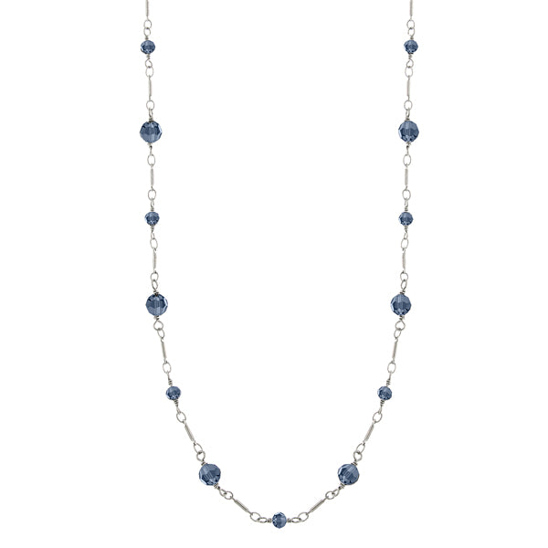 Silver Tone Blue Beads Chain Necklace 36 In