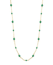 Gold Tone  Green Long Beaded Link Chain Necklace 36 Inches