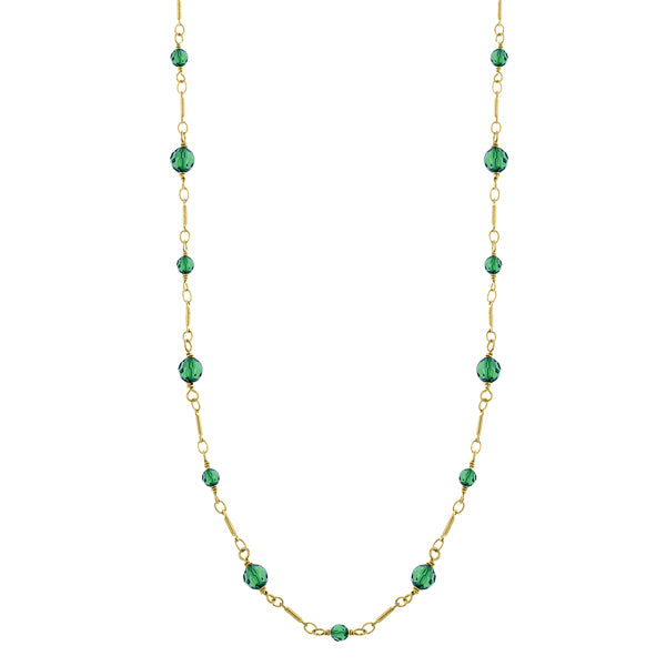 14K Gold Dipped Green Beads Chain Necklace 36 In