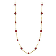 Gold Tone Red Long Beaded Link Chain Necklace 36 Inches