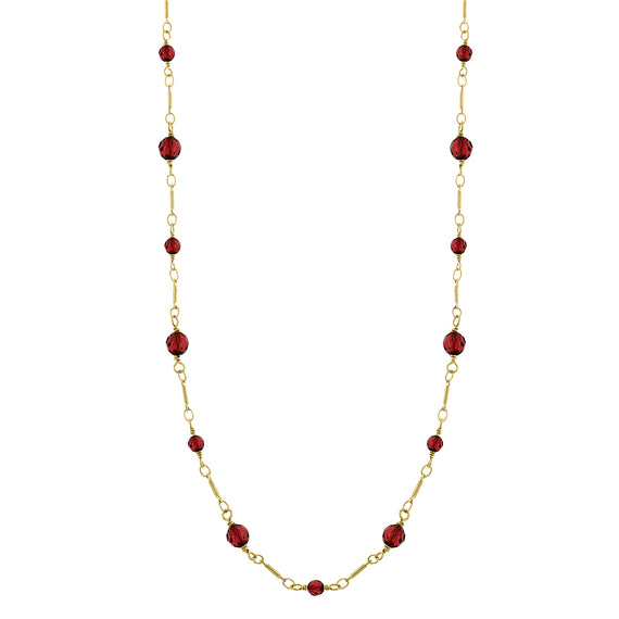 Fashion Jewelry - Downton Abbey Gold Tone Red Bead Station Opera Necklace