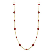 14K Gold Dipped Red Beaded Necklace 36 In