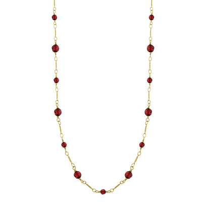 14K Gold-Dipped Red Beaded Necklace 36 In