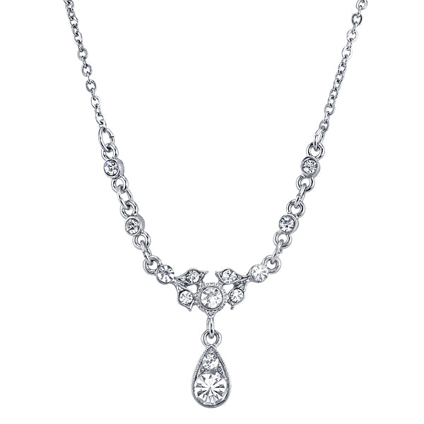 Silver Tone Belle Epoch With Crystal Accent Stones Drop Necklace 16   19 Inch Adjustable
