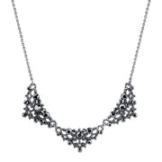 Silver Tone Hematite Color Crystal Filigree Collar Necklace 16   19 Inch Adjustable
