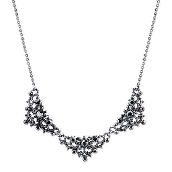 Silver-Tone Hematite Color Crystal Filigree Collar Necklace 16 In Adj