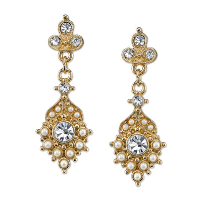 Gold Tone Costume Pearl And Crystal Drop Earrings