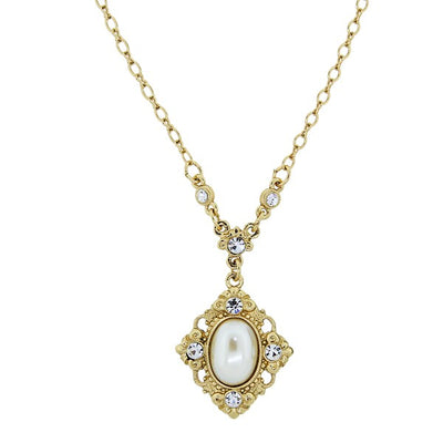 Gold-Tone Costume Pearl and Crystal Pendant Necklace 16 In Adj