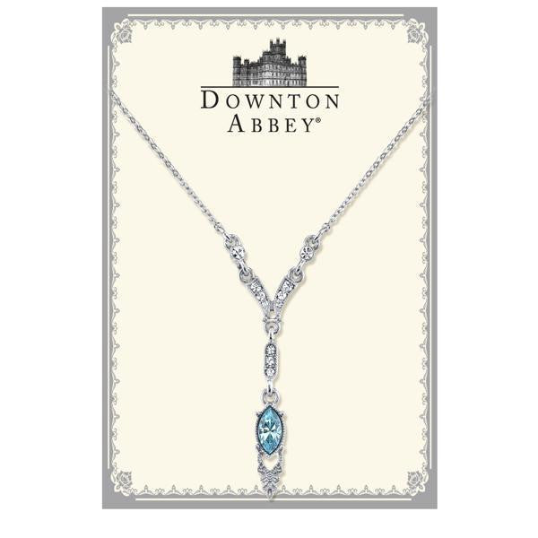 Downton Abbey Boxed Silver Tone Aquamarine Color Crystal Y Necklace