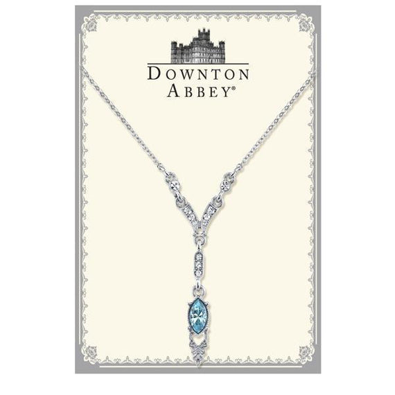 Fashion Jewelry - Downton Abbey Boxed Silver Tone Aquamarine Color Crystal Y Necklace