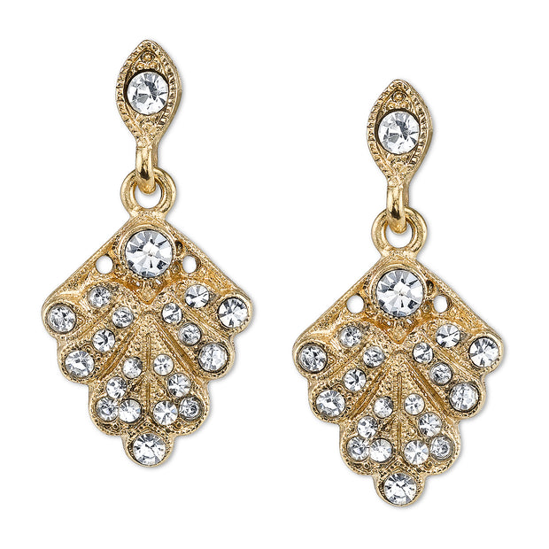 Gold Tone Crystal Pave Fan Drop Earrings