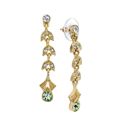 Gold-Tone Light Green and Crystal Linear Earrings