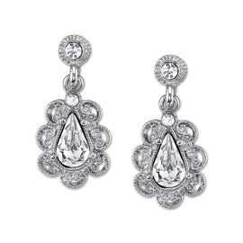 Fashion Jewelry - Downton Abbey Silver Tone Crystal Scalloped Drop Earrings