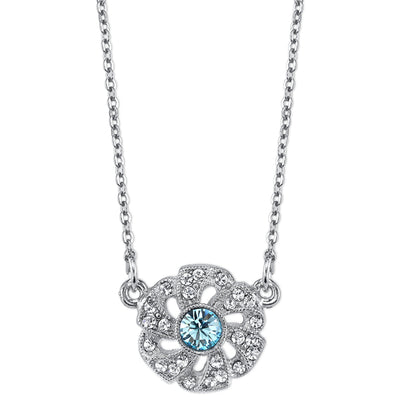 Silver-Tone Blue and Crystal Flower Necklace