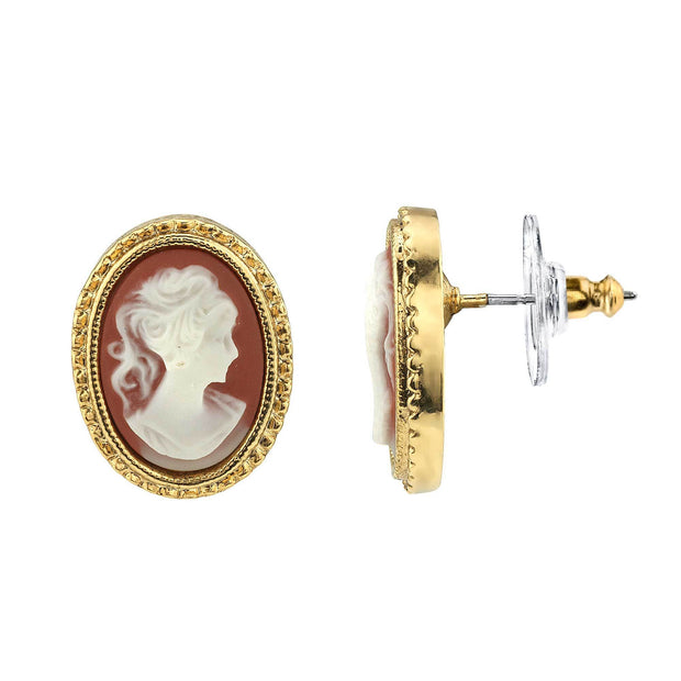 14K Gold Dipped  Faux Cameo Stud Earrings