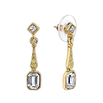 14K Gold Dipped And Crystal Drop Earrings