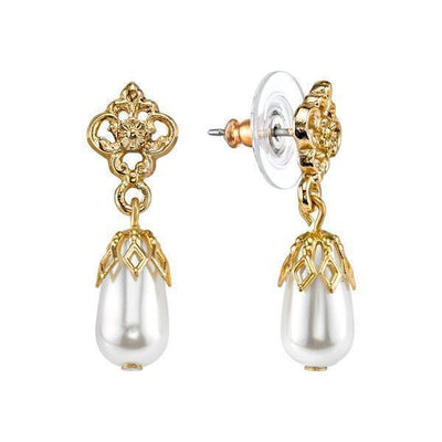 14K Gold Dipped  Costume Pearl Drop Earrings