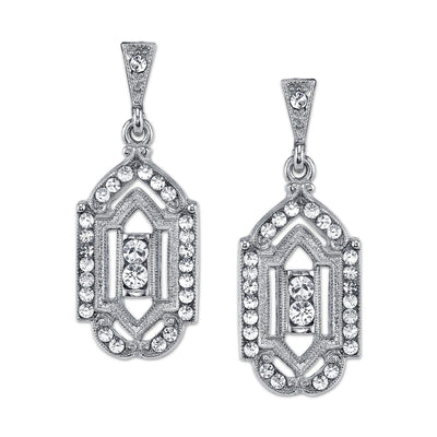 Silver-Tone And Crystal Drop Earrings