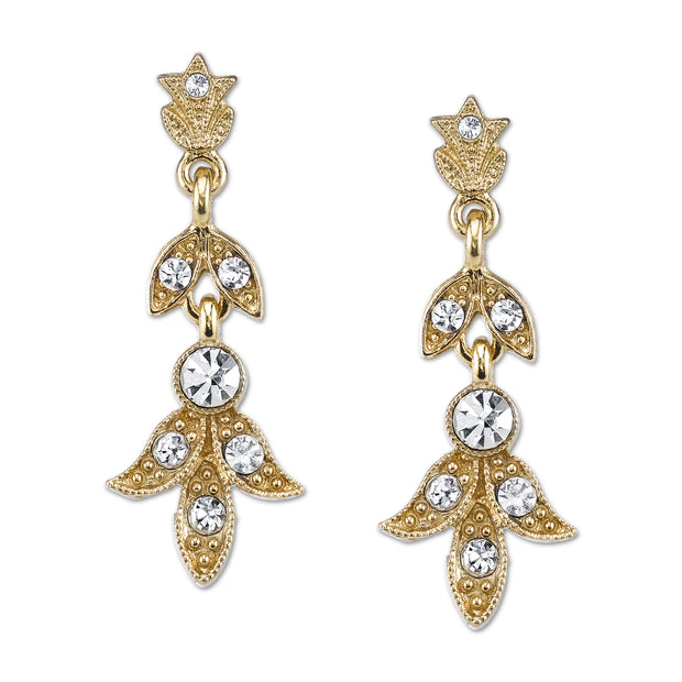 Gold Tone And Crystal Drop Earrings