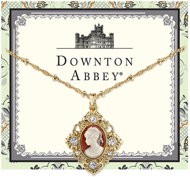 Downton Abbey Gold-Tone Cameo With Crystal Accent Pendant Necklace 16 - 19 Inch Adjustable