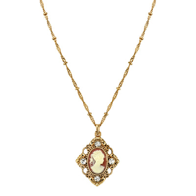 Gold-Tone Cameo with Crystal Accent Pendant Necklace 16 In Adj