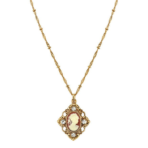 Gold-Tone Cameo With Crystal Accent Pendant Necklace 16 - 19 Inch Adjustable