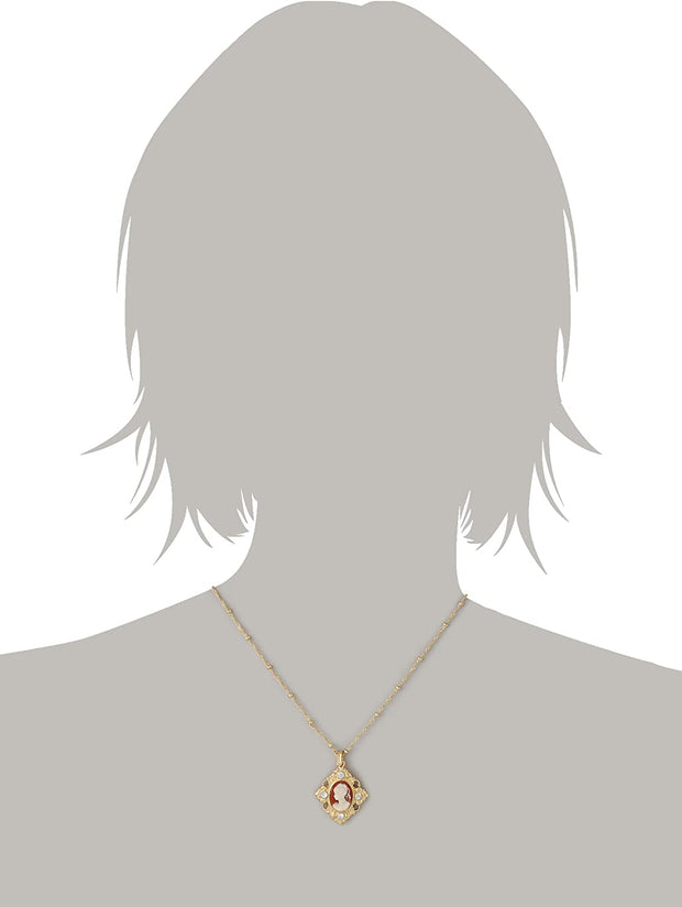 Gold Tone Cameo Crystal Accent Pendant Necklace