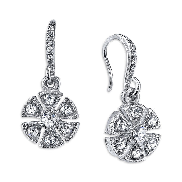 Silver Tone Crystal Art Deco Flower Drop Earrings