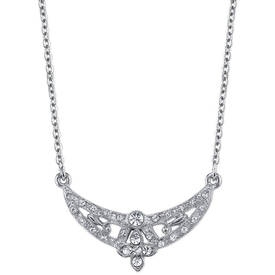 Silver-Tone Crystal Floral Scallop Necklace 16 In Adj