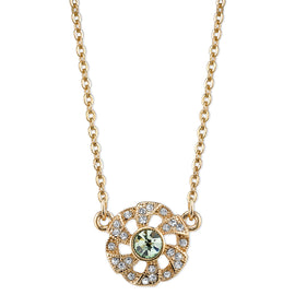 Downton Abbey Gold-Tone Green Crystal Flower Necklace