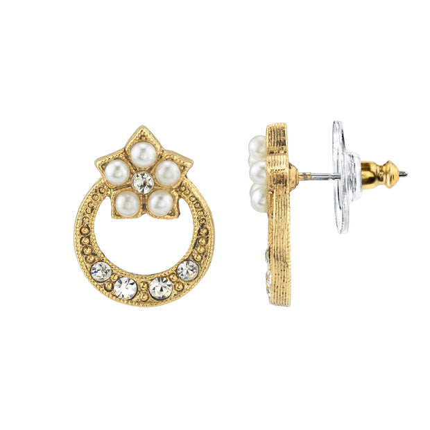 Gold Tone Costume Pearl And Crystal Stud Earrings