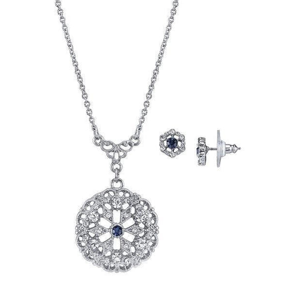 Fashion Jewelry - Downton Abbey Boxed Silver Tone Blue Crystal Necklace and Earrings Set