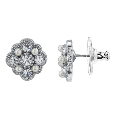 Silver Tone Crystal And Costume Pearl Stud Earrings