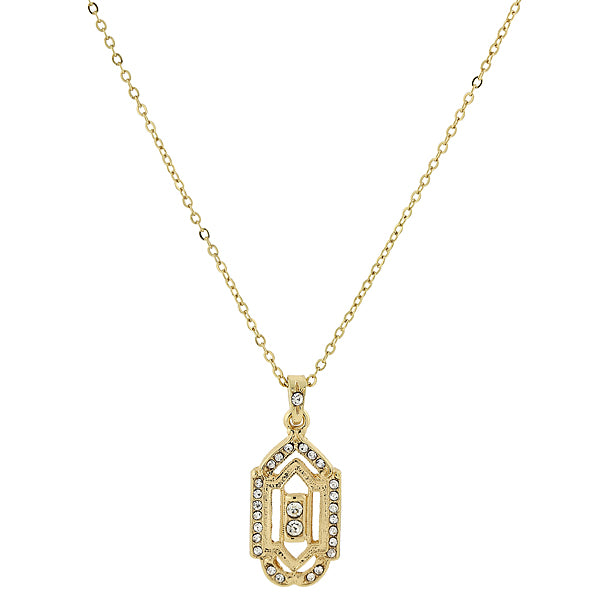 Gold-Tone Crystal Pendant Necklace 16 In Adj